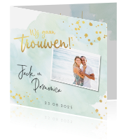 Trouwkaart watercolor mint goudfolie look met foto