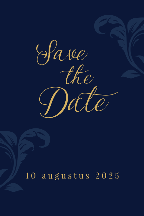 Chique donkerblauwe save the date kaart met goudkleur