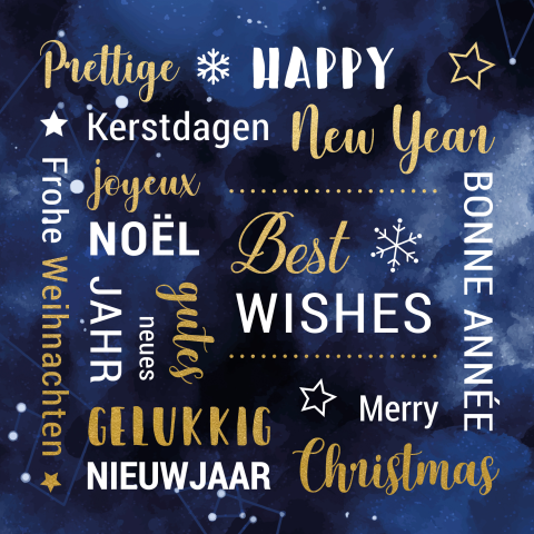Moderne blauwe kerstkaart met teksten internationaal in goudfolie look