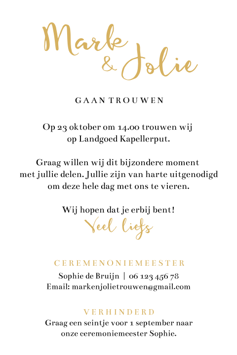 Save the date kaart met eigen foto en koperfolie