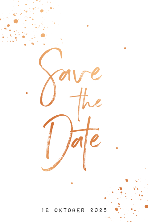 Save the date kaart met tekst en spetters in koperfolie