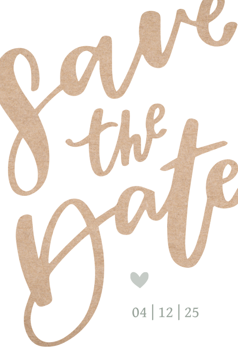 Trendy save the date kaart met kraft tekst