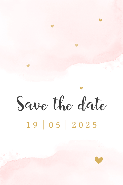 Trendy save the date kaart met roze watercolor en hartjes
