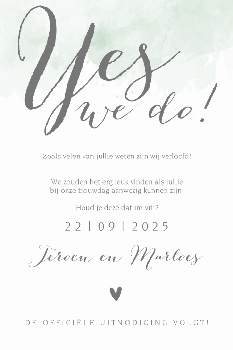 Trendy save the date kaart met watercolor