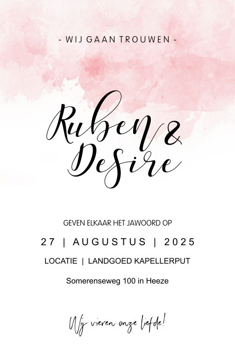 Trendy trouwkaart met roze watercolor