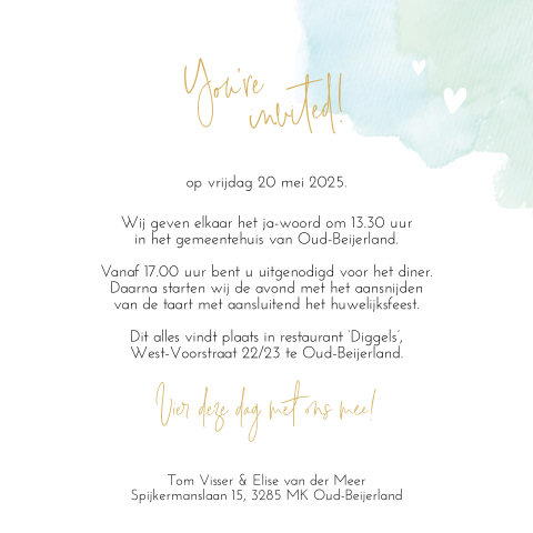 Trouwkaart mint watercolor met foto en goudfolie look