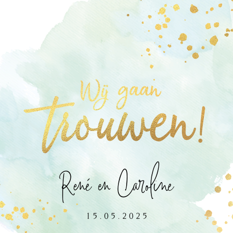 Trouwkaart watercolor mint met goudfolie look