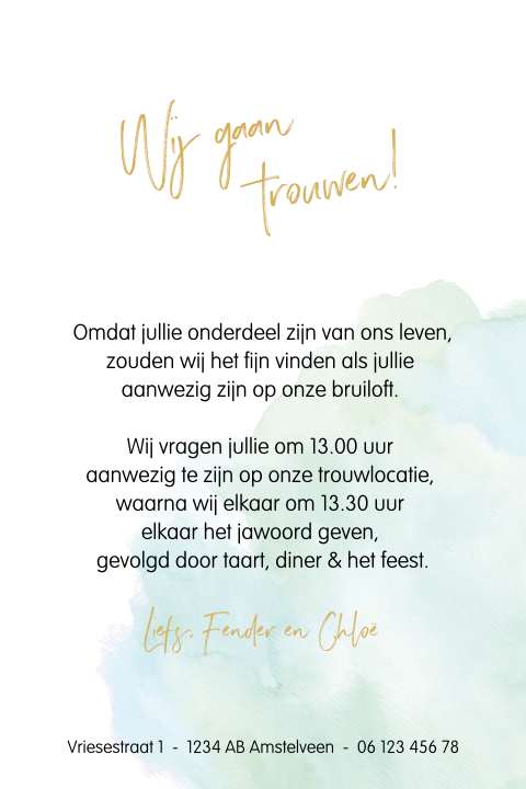 Trouwkaart watercolor mint met goudfolie